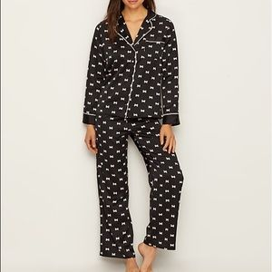 Kate Spade Charmeuse Black Satin Bow Pajama Set